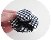 Hat Brooch-Black Gingham Check