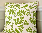 Green Floral Pillow Cover, Green and White Throw Pillow, 18x18 Pillow, Green Floral Cushion Cover, Floral Throw Pillow