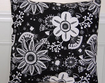 Decorative Floral  Pillow Cover, Black and White Floral Throw Pillow, 18x18 Inch Pillow, Floral Cushion Cover