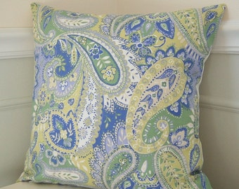 Green Floral Pillow Cover, Blue Floral Pillow Cover, Paisley Throw Pillow, 20x20 Throw Pillow, Paisley Cushion Cover, Green Cushion