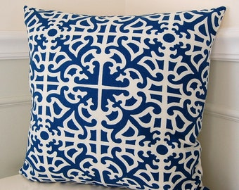 Blue Decorative Pillow Cover, Blue Geometric Pillow Cover, Waverly Blue Parterre 18x18 Throw Pillow, Blue Cushion Cover