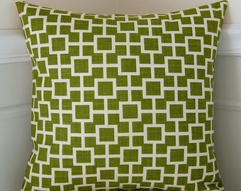 Decorative Pillow Cover, Green Geometric Pillow, Green Cushion Cover, 18x18 Cushion, Lattice Pattern