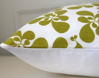 Green Floral Pillow Cover, Green & White Decorative Throw Pillow, 16x16 Cushion