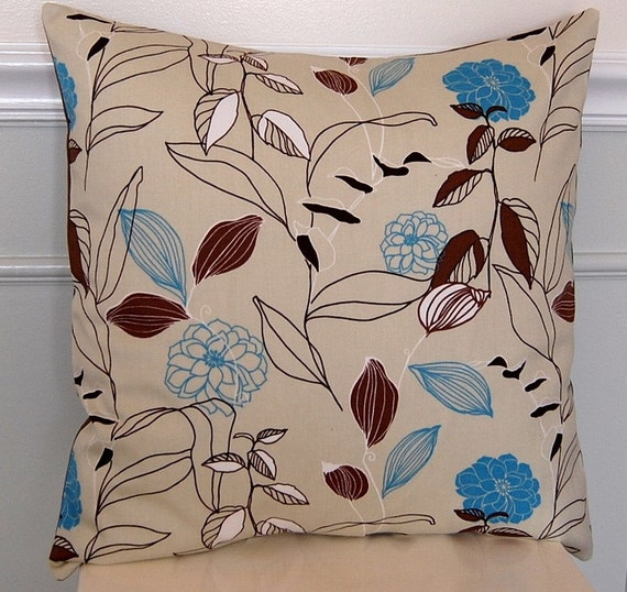 Decorative Pillow Cover, Taupe, Brown, and Blue Floral, 18x18