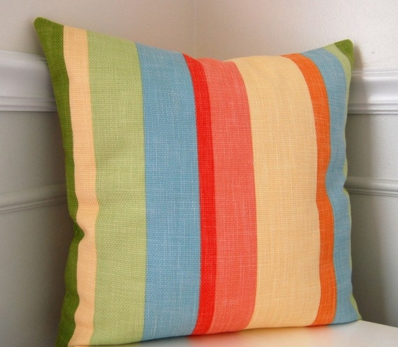Blue Striped Throw Pillow Cover : Striped Pillow Cover Decorative Pillow Cover Green by CottagePixie