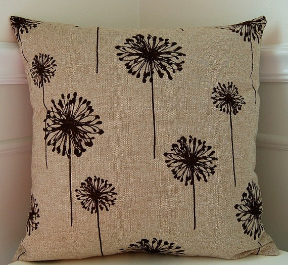 Decorative Throw Pillow Cover, Chocolate Brown & Beige Floral Cushion, 18x18