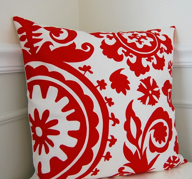 Red And White Throw Pillow Covers : Red Suzani Pillow Cover Red Throw Pillow Cushion Cover