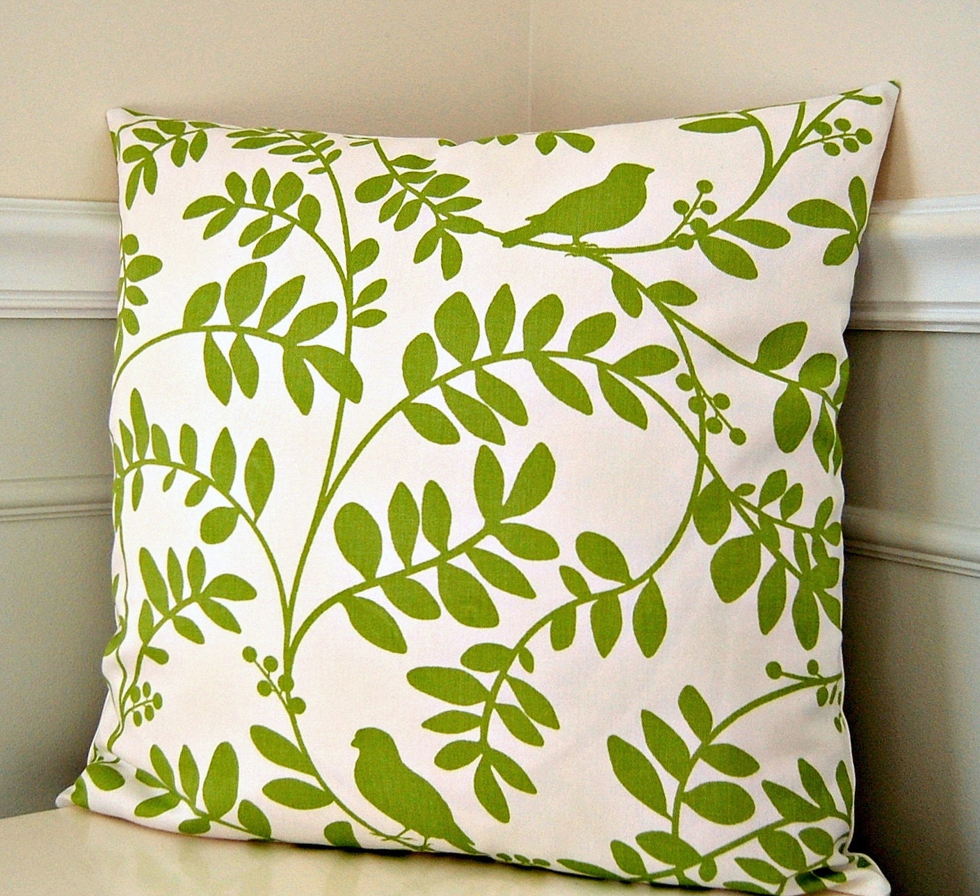 green floral pillow cover green and white throw pillow 18x18. Black Bedroom Furniture Sets. Home Design Ideas