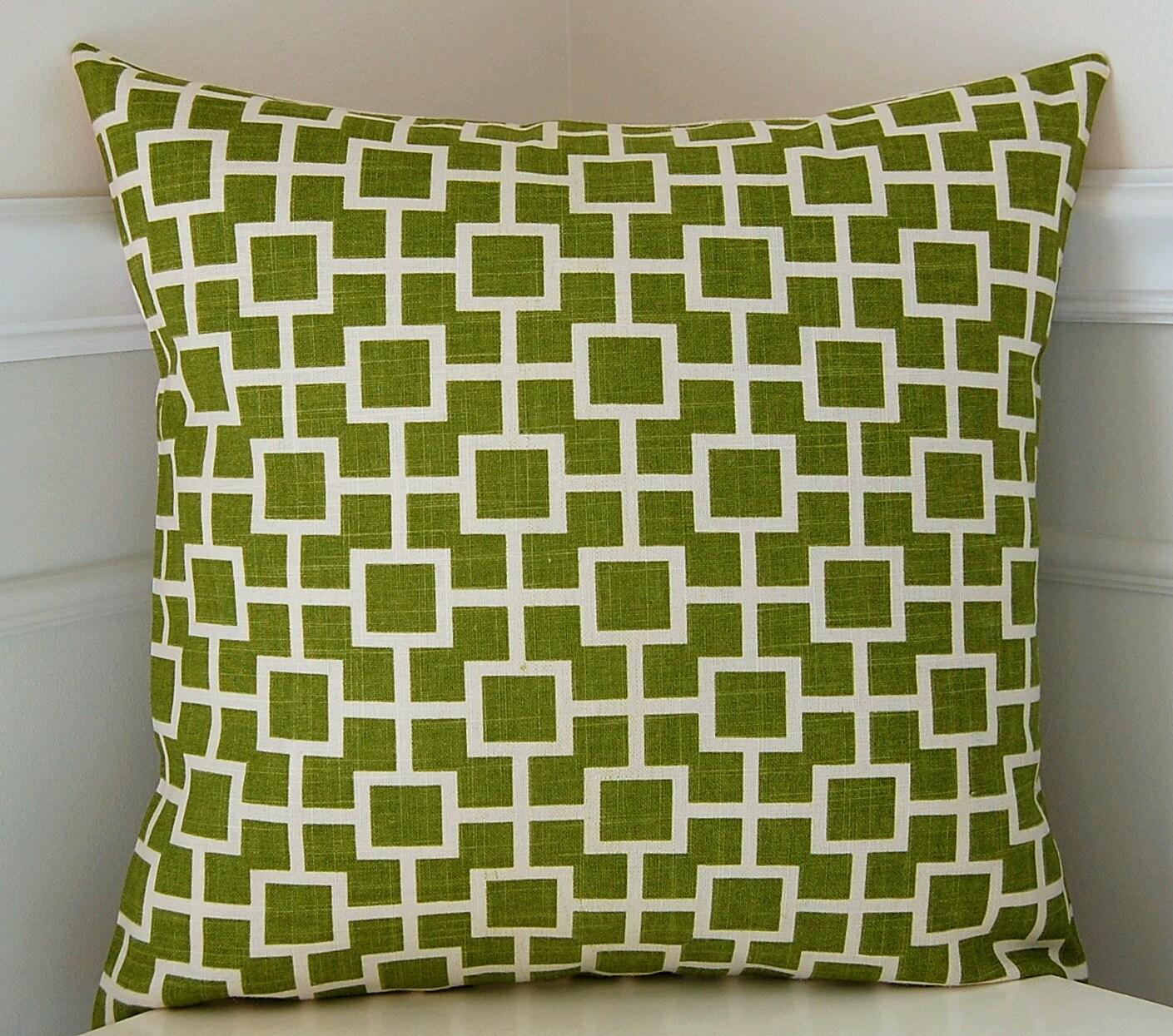Green Geometric Pillow Cover Green & White Throw Pillow
