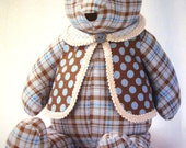 """2011 Simplicity 2115 NEW UNCUT Factory Folded Sewing Pattern Stuffed Bear 18"""" and Vest Doll, One Size"""