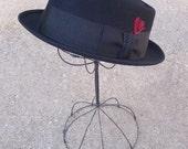 Vintage Royal Stetson Mens Fedora Hat  Black Felt wool Size 7-1/4