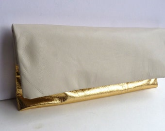 Two tone leather clutch purse, cream and metallic gold leather, large