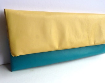 Leather clutch bag, XL, in Lemon and Jade