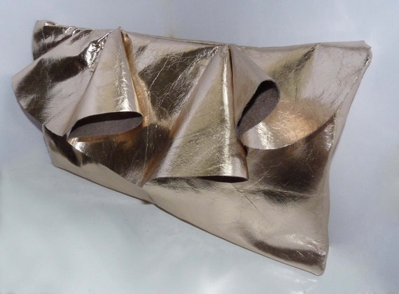 "Leather clutch """"SAMPLE SALE"""" metallic with ruffle, large"