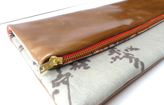 LAST ONE Leather and abstract blossom print fabric multi purpose clutch bag