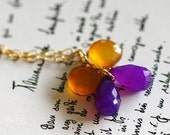 SALE- Hand Wrapped Honey Violet Chalcedony Butterfly Pendant Necklace
