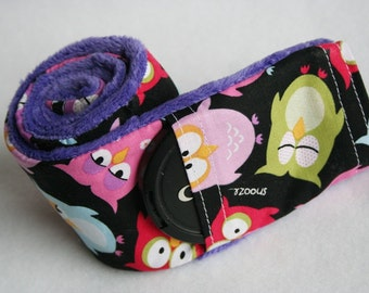 Camera Strap Cover with Lens Cap Pocket - Padded Minky - Photographer Gift - Sleepy Owls with Purple