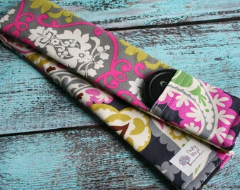 SALE!!  Reversible Camera Strap Cover with Lens Cap Pocket - Photographer Gift - Pink and Green Damask with Paisley - CLEARANCE