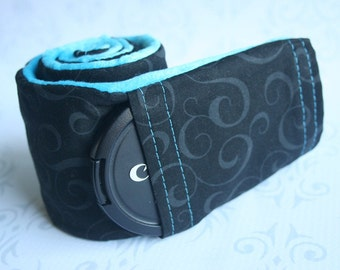 Camera Strap Cover with Lens Cap Pocket - Padded - Black Scroll with Teal