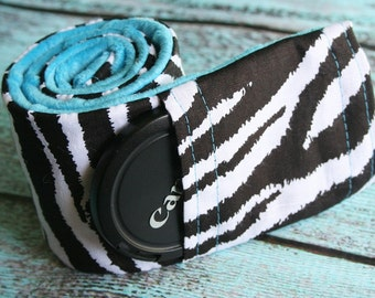 Camera Strap Cover with Lens Cap Pocket - Black Padded Minky - Zebra and Teal