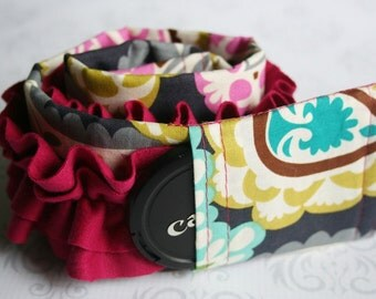 Ruffled Camera Strap Cover Padded with Lens Cap Pocket - Photographer Gift - Gray and Teal Paisley with Pink Ruffle