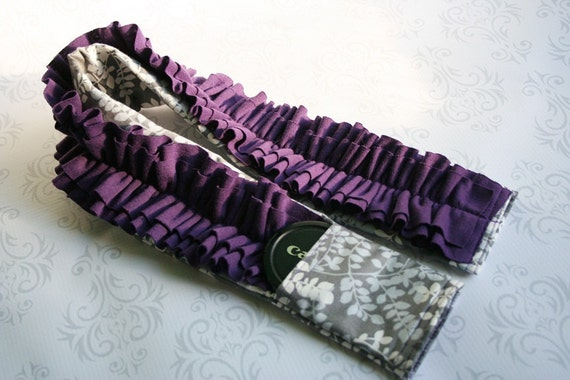 Ruffled Camera Strap Cover Padded with Lens Cap Pocket - Silver Leaves with Purple Ruffle- MADE TO ORDER