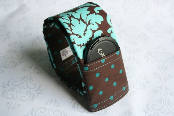 CLEARANCE - Reversible Camera Strap Cover with Lens Cap Pocket - Teal and Brown Damask with Dots- Made to Order