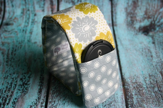 CLEARANCE Reversible Camera Strap Cover with Lens Cap Pocket - Yellow and Gray Flowers with Gray Dots- Made to Order