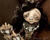 Art Doll Sad Jester Clown black and white Doll OOAK Porter RESERVED