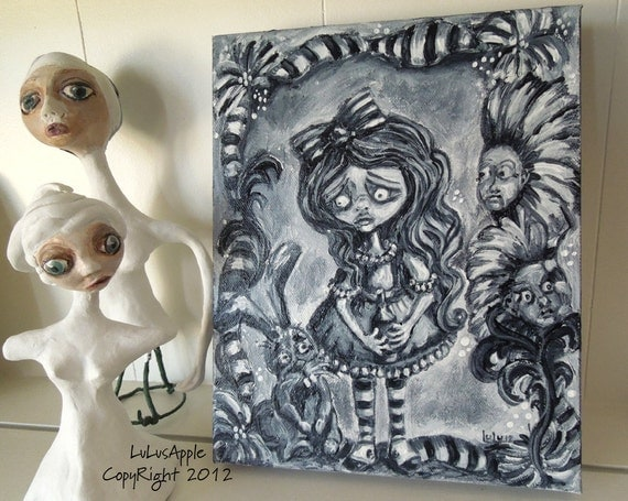 Goth Alice in Wonderland black and white mixed media original painting 8x10 Gallery wrapped OOAK