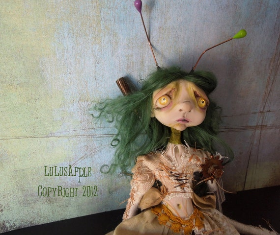 Steampunk Rabbit Art Doll post apocalyptic strange doll Sage RESERVED