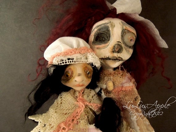 Art Dolls Creepy goth corpse and child Melody and her monster Bethy RESERVED