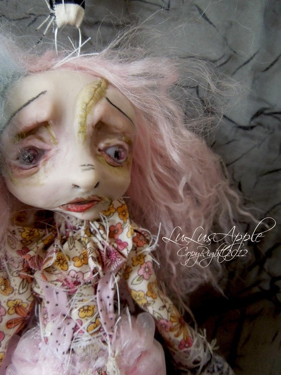 Creepy Goth Art Doll wall hanging scars and stitches doll OOAK Frankie RESERVED