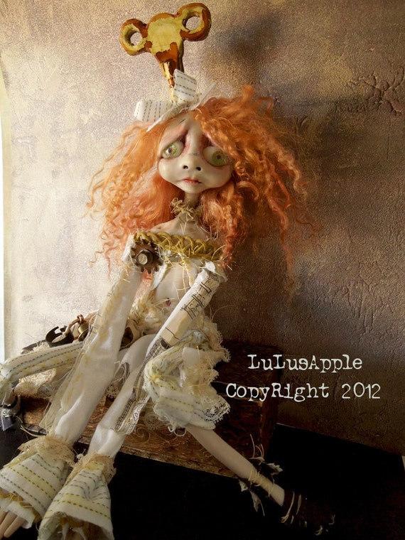 Steampunk Art Doll OOAK strange post apocalyptic Goth doll Neellie RESERVED