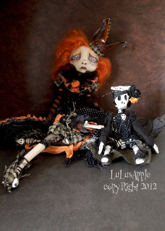 Art Doll Halloween sad doll OOAK Pumpkin Princess Ambre and skeleton doll RESERVED