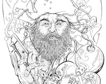 Blackbeard - Lineart Print
