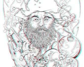 3D Art Print - Blackbeard