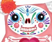 Cute little Monster Print Dia de los muertos Monster pink 5 x 7