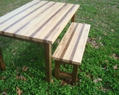 Reclaimed Wood Dining Table and Bench Dining Table Set