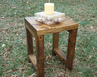 Wood Stool Side Table Rustic Wood Side Table Reclaimed Wood Side Table
