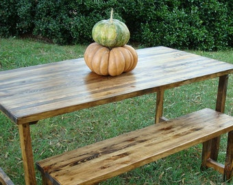 Reclaimed Wood Table and Bench Wood Dining Table and Bench