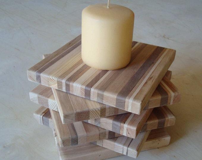 Reclaimed Wood Coaster Set Wood Trivet SET OF FOUR Wood Coasters Hostess Gift