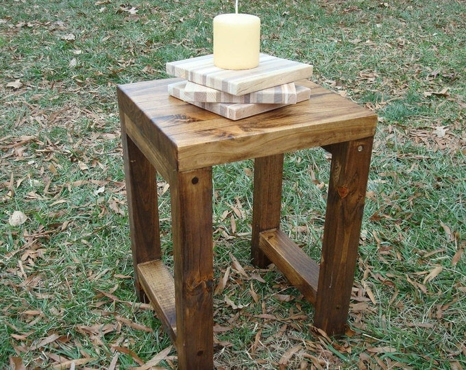 Wood Stool Side Table Rustic Wood Side Table Reclaimed Wood Side Table