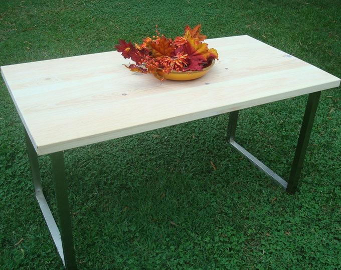 Wood Table, Wood Desk, Metal Legs, Wide Plank Industrial Table