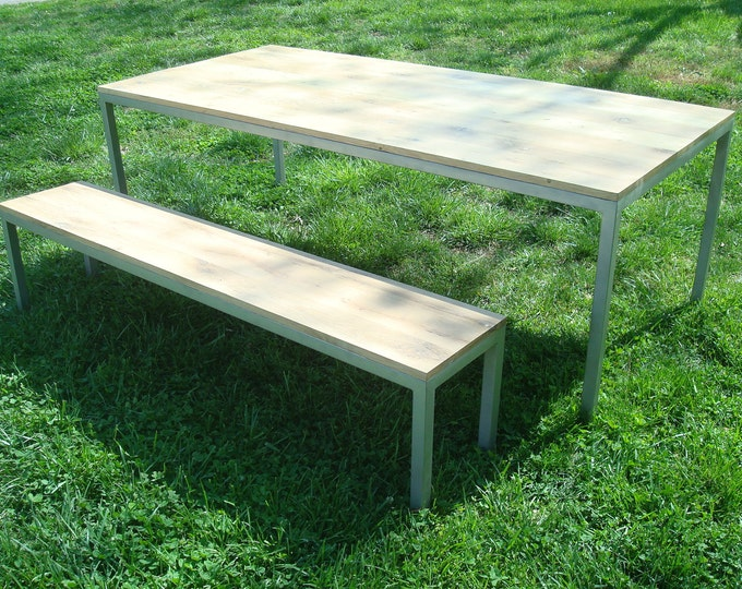 Modern Industrial Parsons Table White Oak and Steel Table and Bench Wood Table Dining Table Set