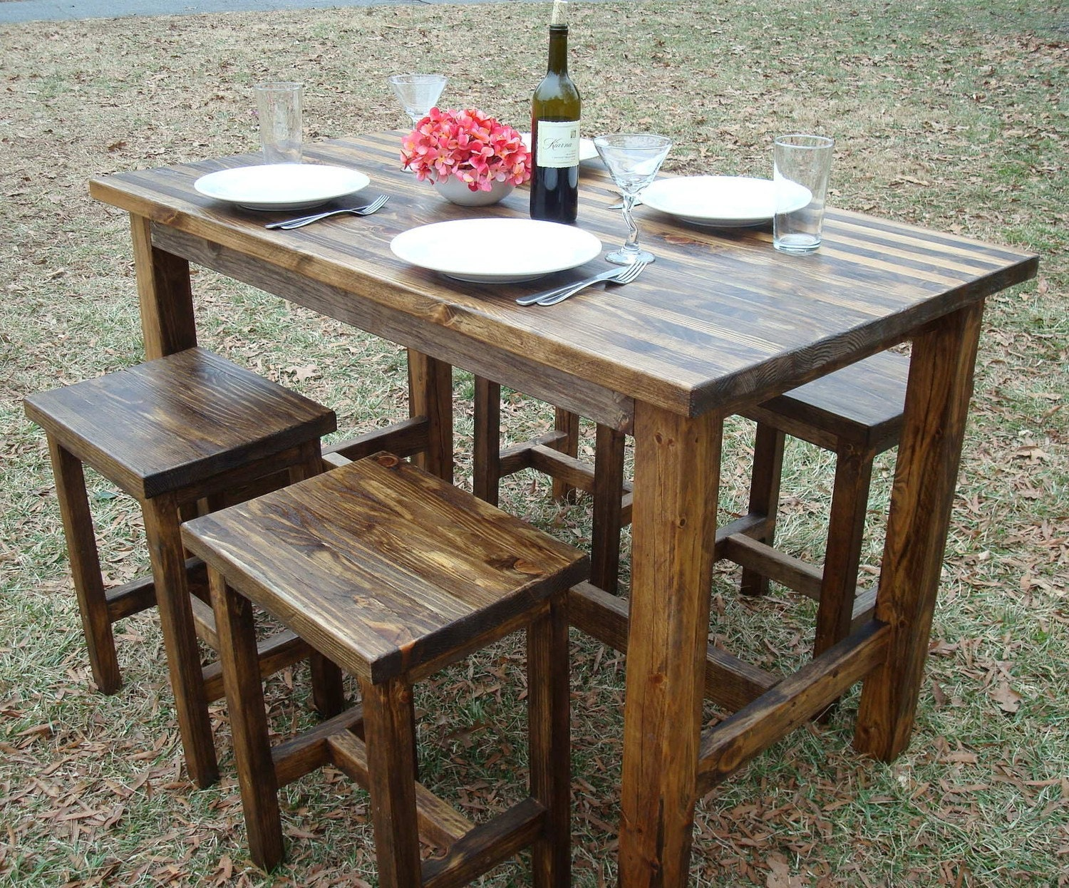 Bar table and stools pub table wood bar by for Kitchen table with stools