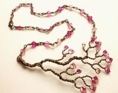 Hand Twisted Tree Necklace in Cherry Blossom