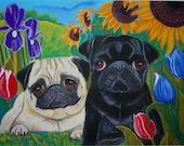 2 Pugs in Tulips, Irises, and Sunflowers ORIGINAL Dog Art Painting