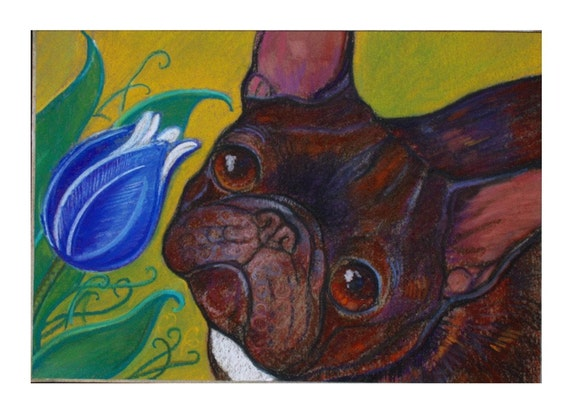 French Bulldog Tulip Awe ORIGINAL Painting Dog Art