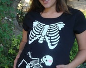 2xl skeleton xray maternity shirts SHORT or LONG sleeve plus size Halloween custom